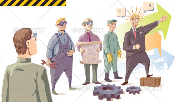 Manager is Speaking to the Workers - People Characters