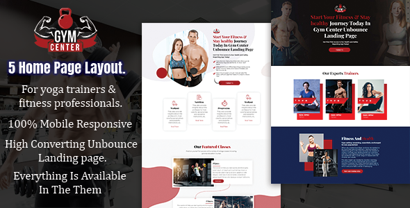 Gym Center - Fitness Unbounce Landing page