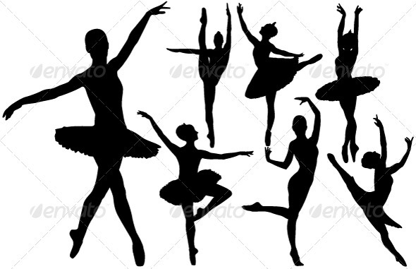 Ballet Female Dancers Silhouettes - People Characters