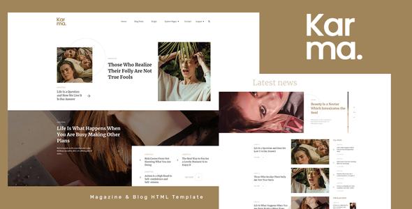 Karma - Magazine and Blog HTML Template
