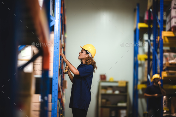 worker person working in warehouse, logistic transportation shipping industry storage - Stock Photo - Images