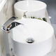 Pair of ceramic water basins in the interior of light modern bathroom with a mirror with light - PhotoDune Item for Sale