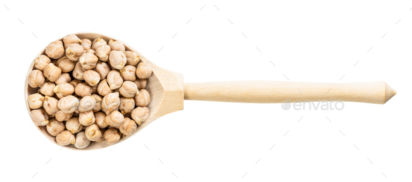 top view of wood spoon with chickpea seeds - Stock Photo - Images