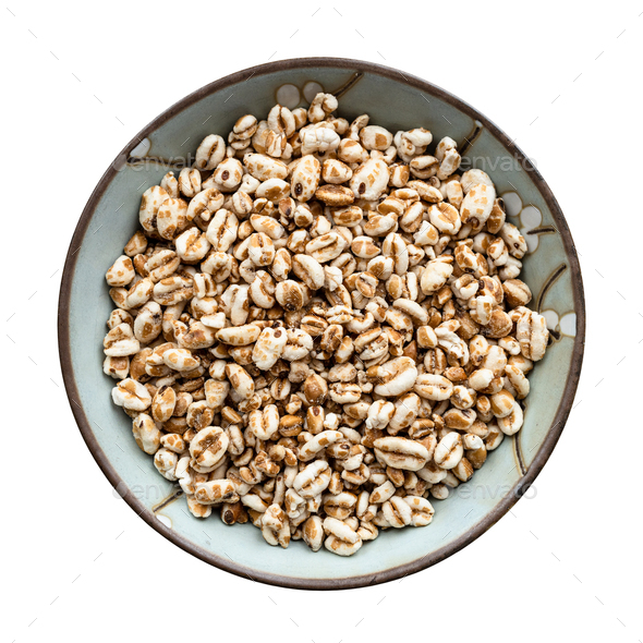 view of puffed emmer farro wheat grains in bowl - Stock Photo - Images