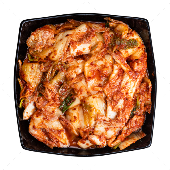 top view of korean appetizer kimchi isolated - Stock Photo - Images