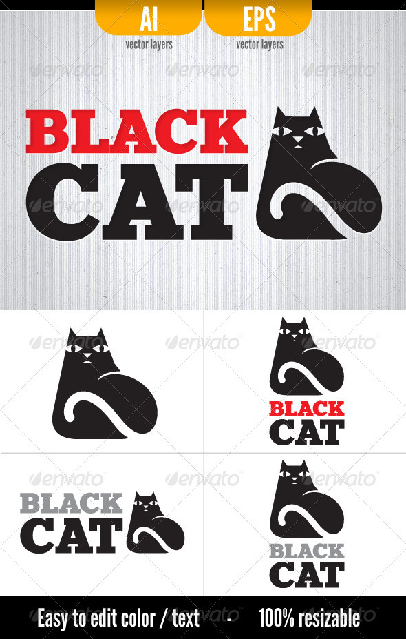 Black Cat - Logo Template - Animals Logo Templates
