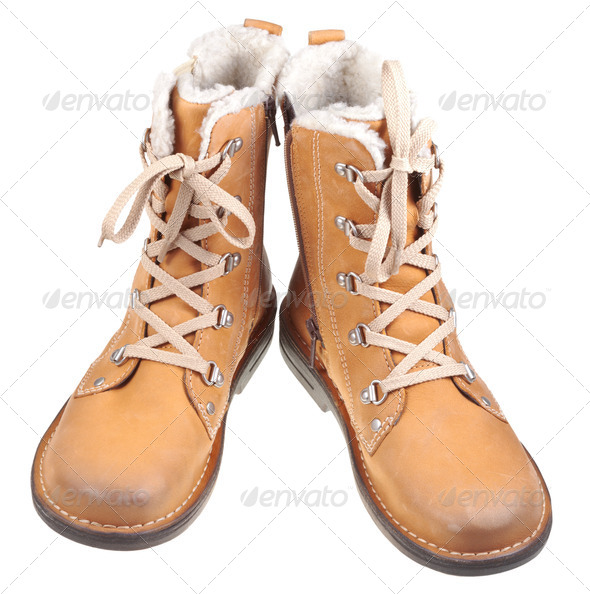 pair of leather outdoor boots - Stock Photo - Images