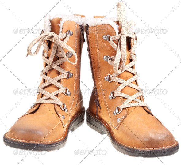 pair of autumn outdoor boots - Stock Photo - Images