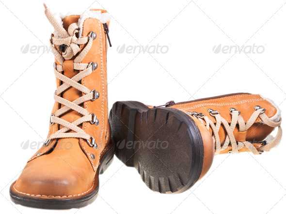 new brown leather outdoor boots - Stock Photo - Images