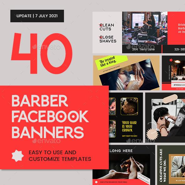 Barber Shop Facebook Banners Templates