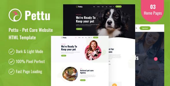 Pettu - Pet Care Website HTML Template