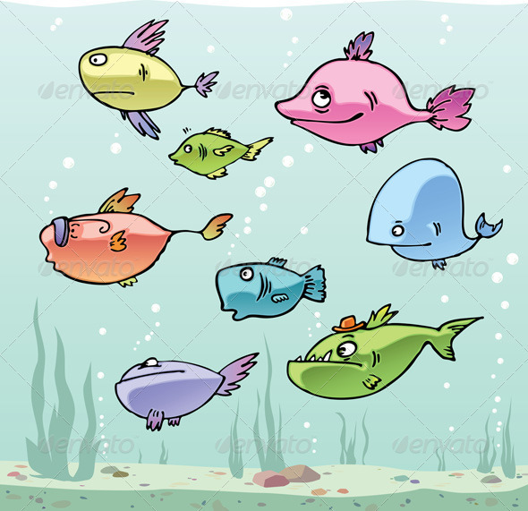 Set of the funny cartoon fishes in their habitat. - Animals Characters