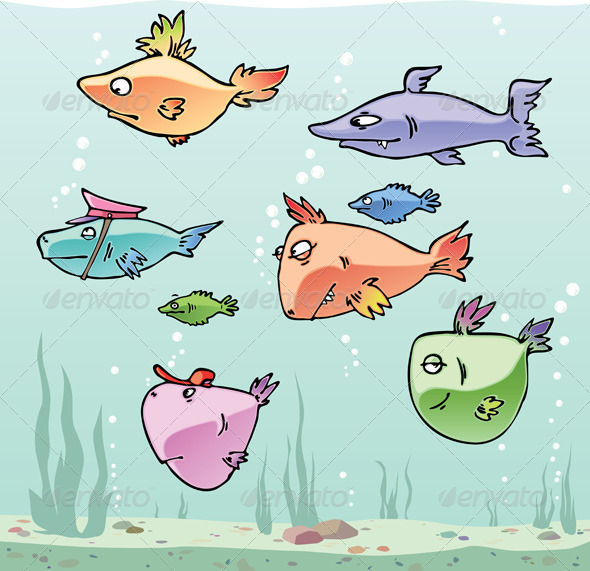 Set of the Funny Fishes  - Animals Characters