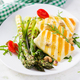 Grilled halloumi cheese salad with tomatoes and asparagus - PhotoDune Item for Sale