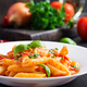 Classic italian pasta penne alla arrabiata with basil and freshly grated parmesan cheese - PhotoDune Item for Sale