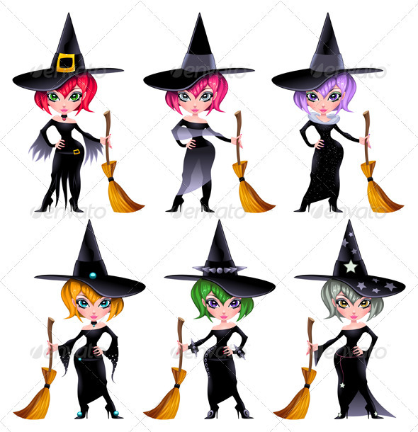 Set of funny witches. - Halloween Seasons/Holidays