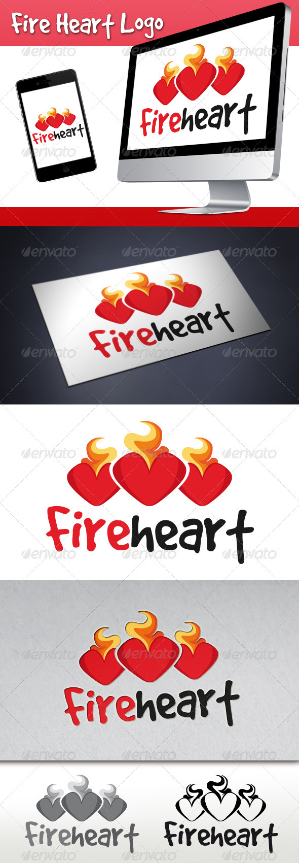 Fire Heart Logo - Objects Logo Templates