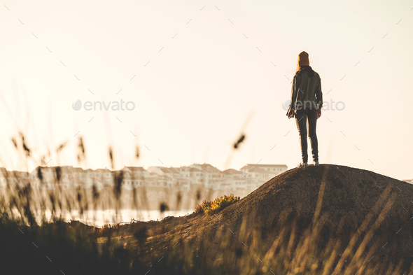 Woman enjoying the view - Stock Photo - Images
