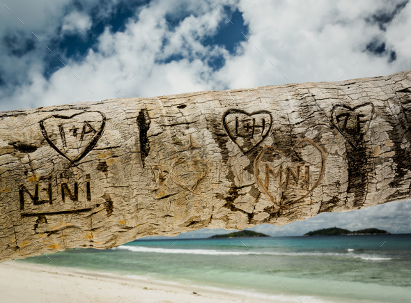 Love Messages writed on the wood - Stock Photo - Images