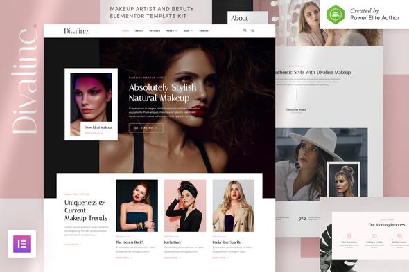 Divaline – Makeup Artist, Model & Beauty Elementor Template Kit
