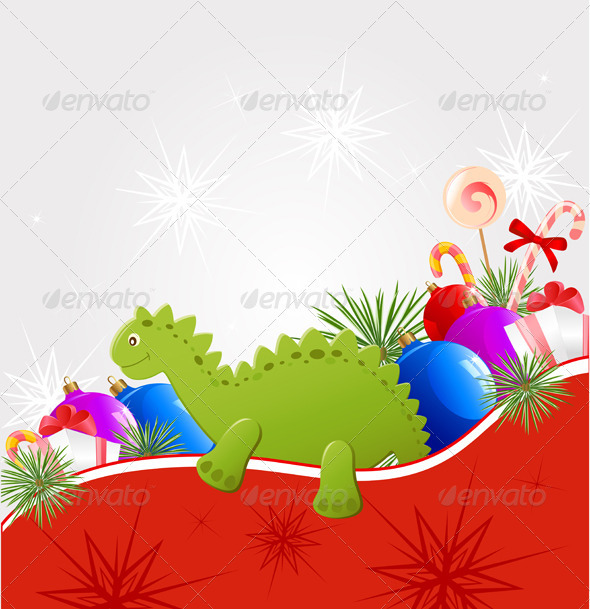 Christmas  Background with Dragon - New Year Seasons/Holidays