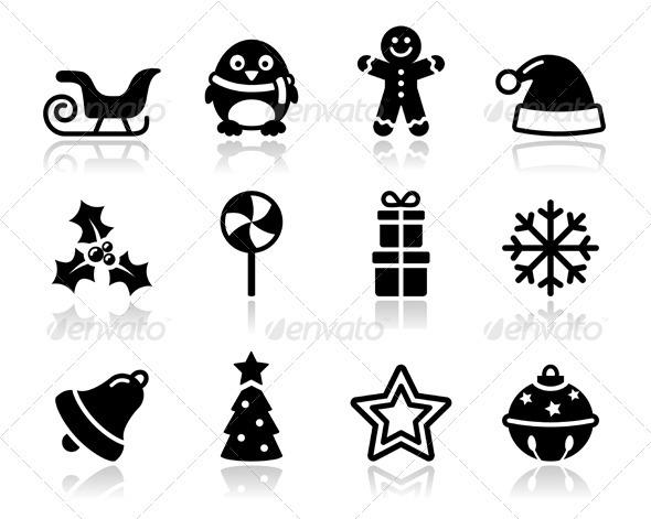 Christmas black icons with shadow set - Christmas Seasons/Holidays