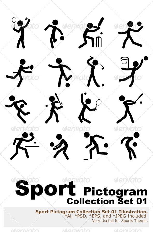 Sport Pictogram Icon Set 01 - Sports/Activity Conceptual