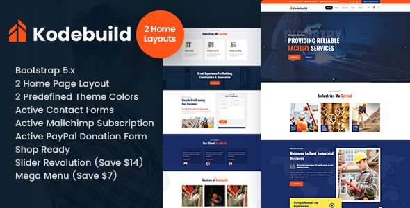 Wondrous Kodebuild - Factory Industry HTML