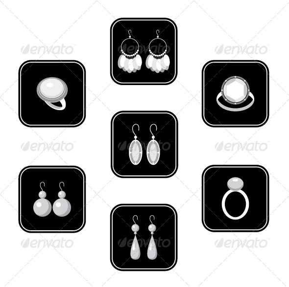Set of black icons with jewelry - Decorative Vectors