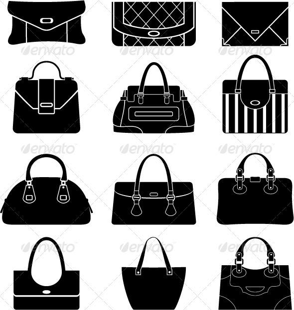Black icons female bags - Decorative Vectors