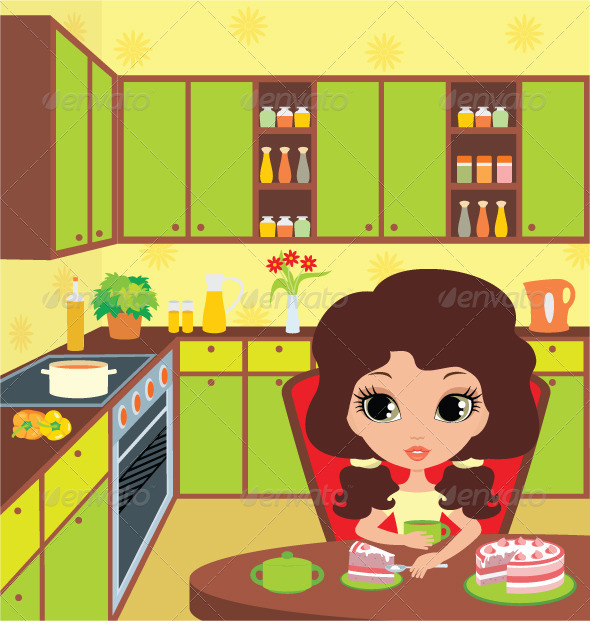 Pretty girl eats a pie - People Characters