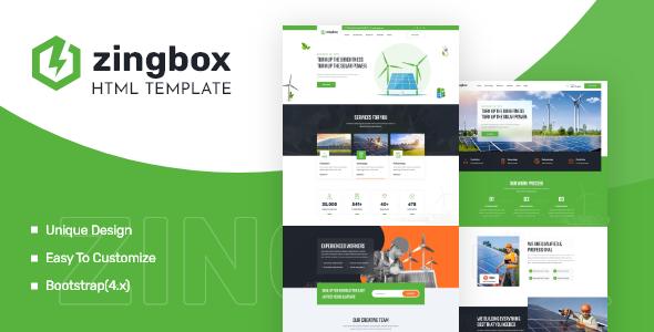 Wonderful Zingbox – Wind & Solar Energy HTML Template