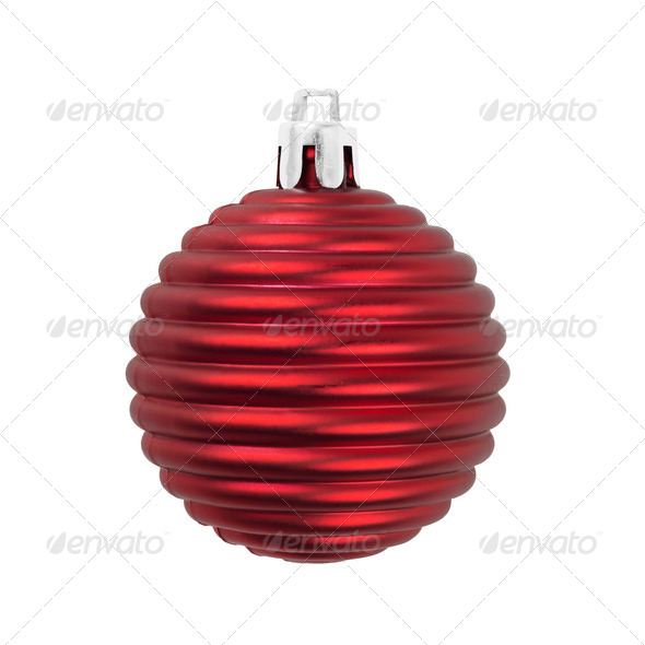 Christmas ball matte red decoration isolated on white. - Stock Photo - Images