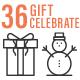 36 Anniversary Gift Celebration Line Icons