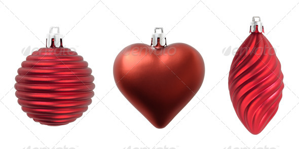 Christmas three red decorations isolated on white. - Stock Photo - Images