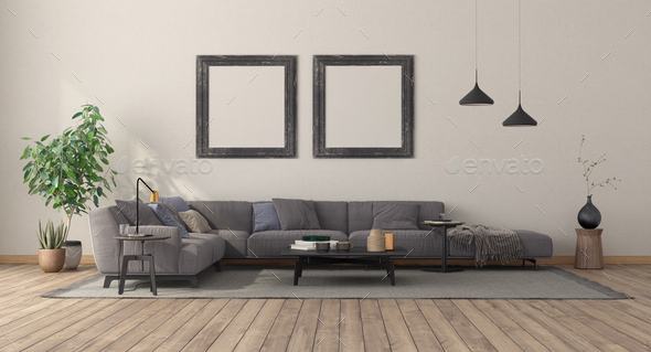 Minimalist living room with large sofa - Stock Photo - Images