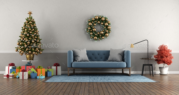 Classic style living room with Christmas tree with gift - Stock Photo - Images