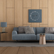Wooden paneling in a modern living room with sofa - PhotoDune Item for Sale