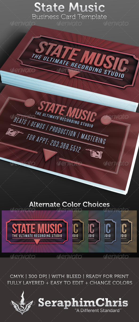 Recording Studio Business Card Template By SeraphimChris - Music business card template