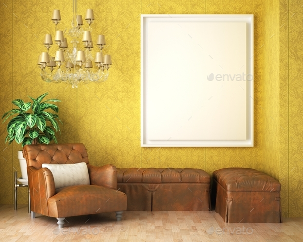 3D Mockup photo frame in Modern interior of living room - Stock Photo - Images