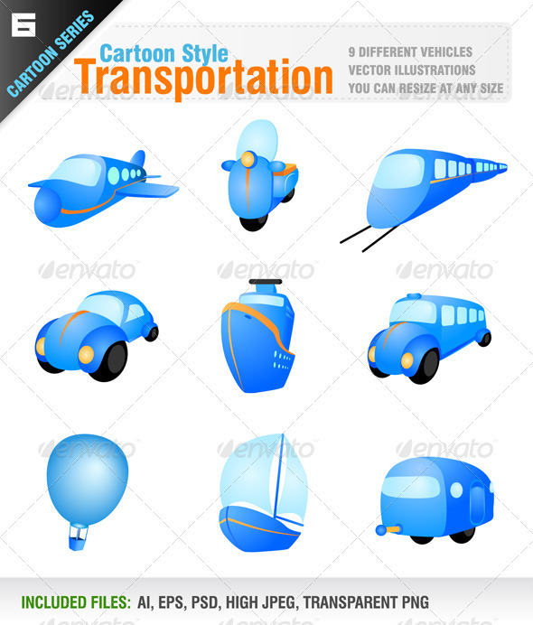 Transportation Vehicle Icons - Objects Vectors