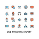 Live Streaming Sign Color Thin Line Icon Set. Vector
