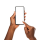 Black woman hands using smart phone on white background - PhotoDune Item for Sale