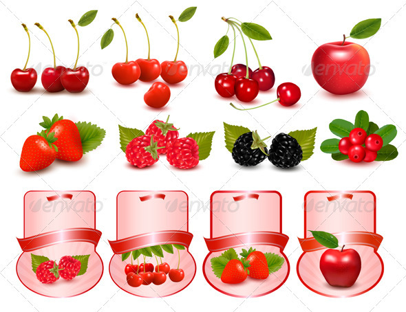 Big set of fresh cherries and fruit and labels - Food Objects