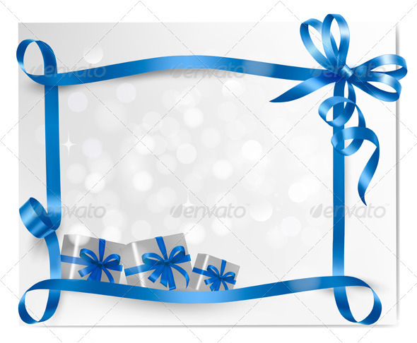 Holiday background with blue gift bow with boxes - Christmas Seasons/Holidays