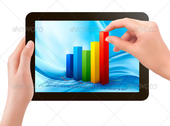Tablet screen with graph and a hand - Business Conceptual