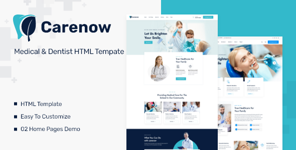 Excellent Carenow – Medical & Dentist HTML Tempate