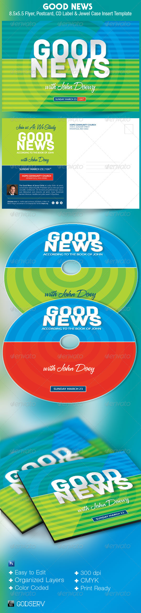 Good News Church Postcard CD Template - Church Flyers