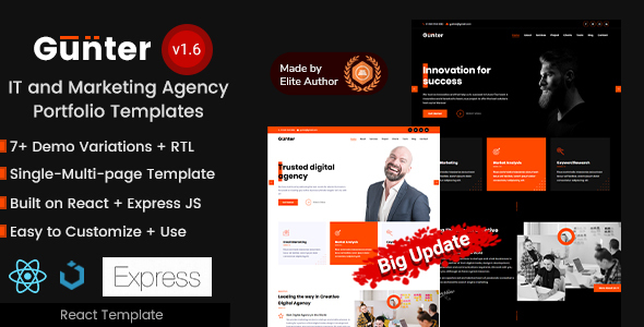 React IT & Marketing Agency Portfolio Template - Gunter