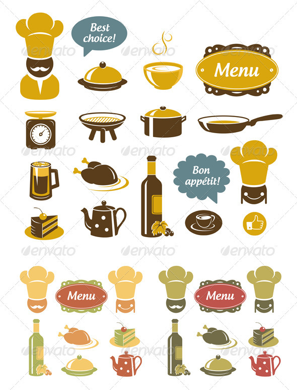 Kitchen And Restaurant Icons Set - Food Objects